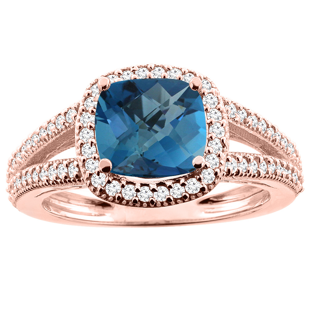 14K Rose Gold Natural London Blue Topaz Ring Cushion 7x7mm Diamond Accent 3/8 inch wide, sizes 5 - 10