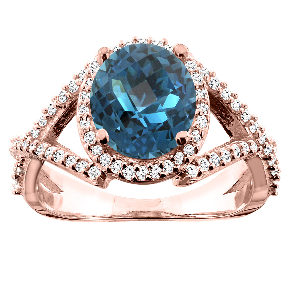 14K White/Yellow/Rose Gold Natural London Blue Topaz Ring Oval 9x7mm Diamond Accent, size 5