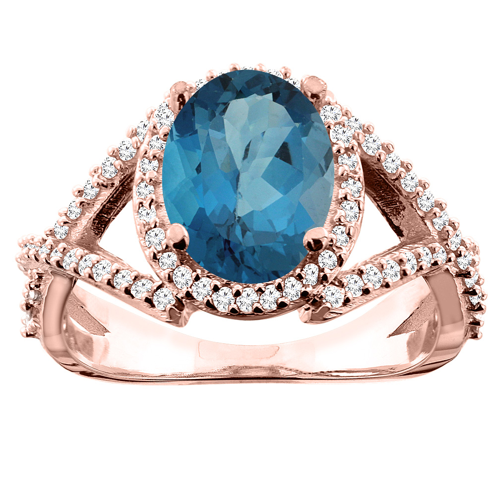 14K White/Yellow/Rose Gold Natural London Blue Topaz Ring Oval 10x8mm Diamond Accent, sizes 5 - 10