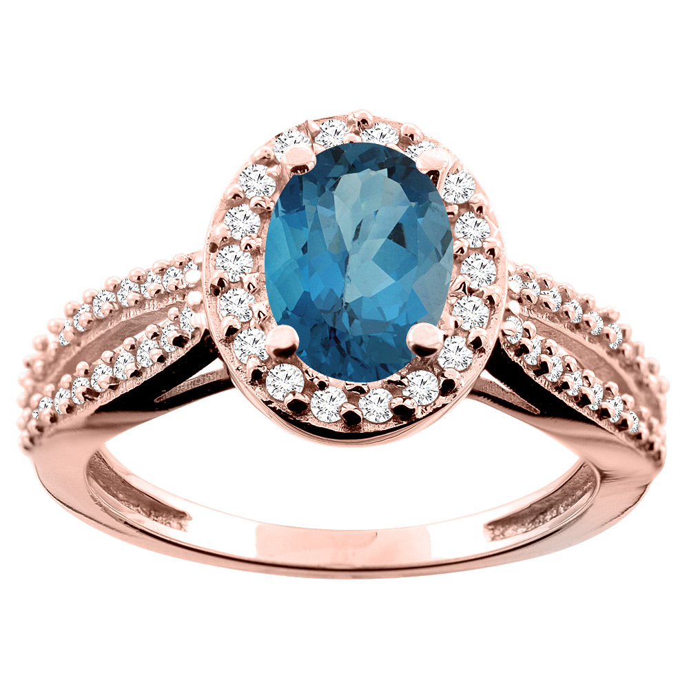 14K White/Yellow/Rose Gold Natural London Blue Topaz Ring Oval 8x6mm Diamond Accent, size 5