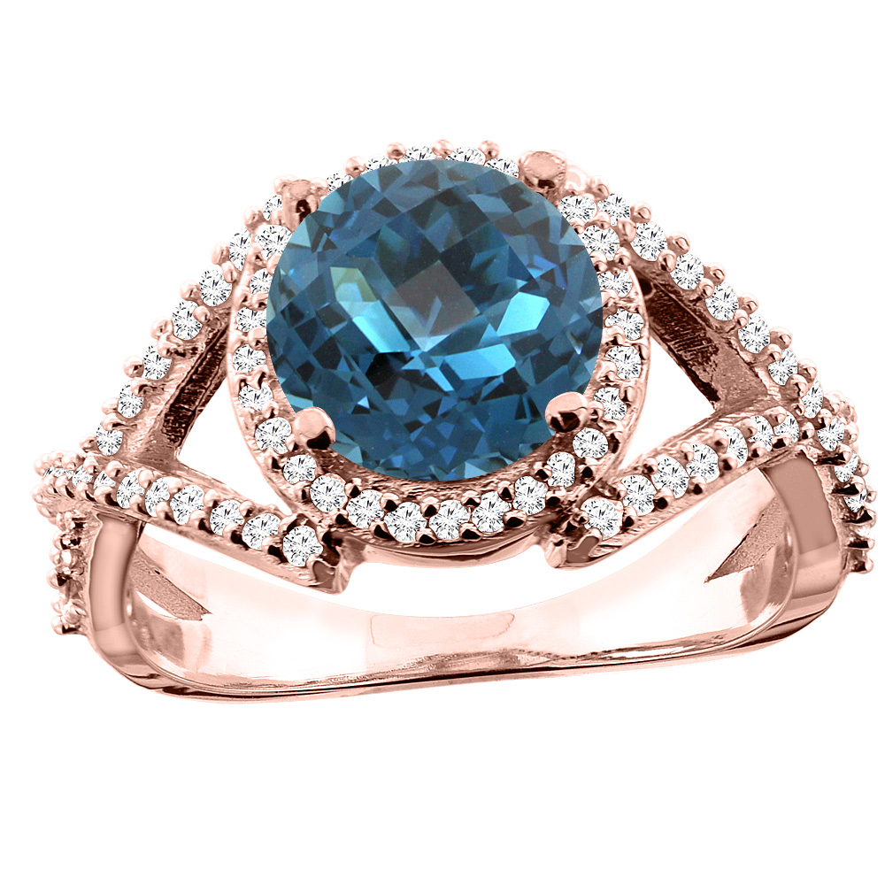14K White/Yellow/Rose Gold Natural London Blue Topaz Ring Round 8mm Diamond Accent, size 5