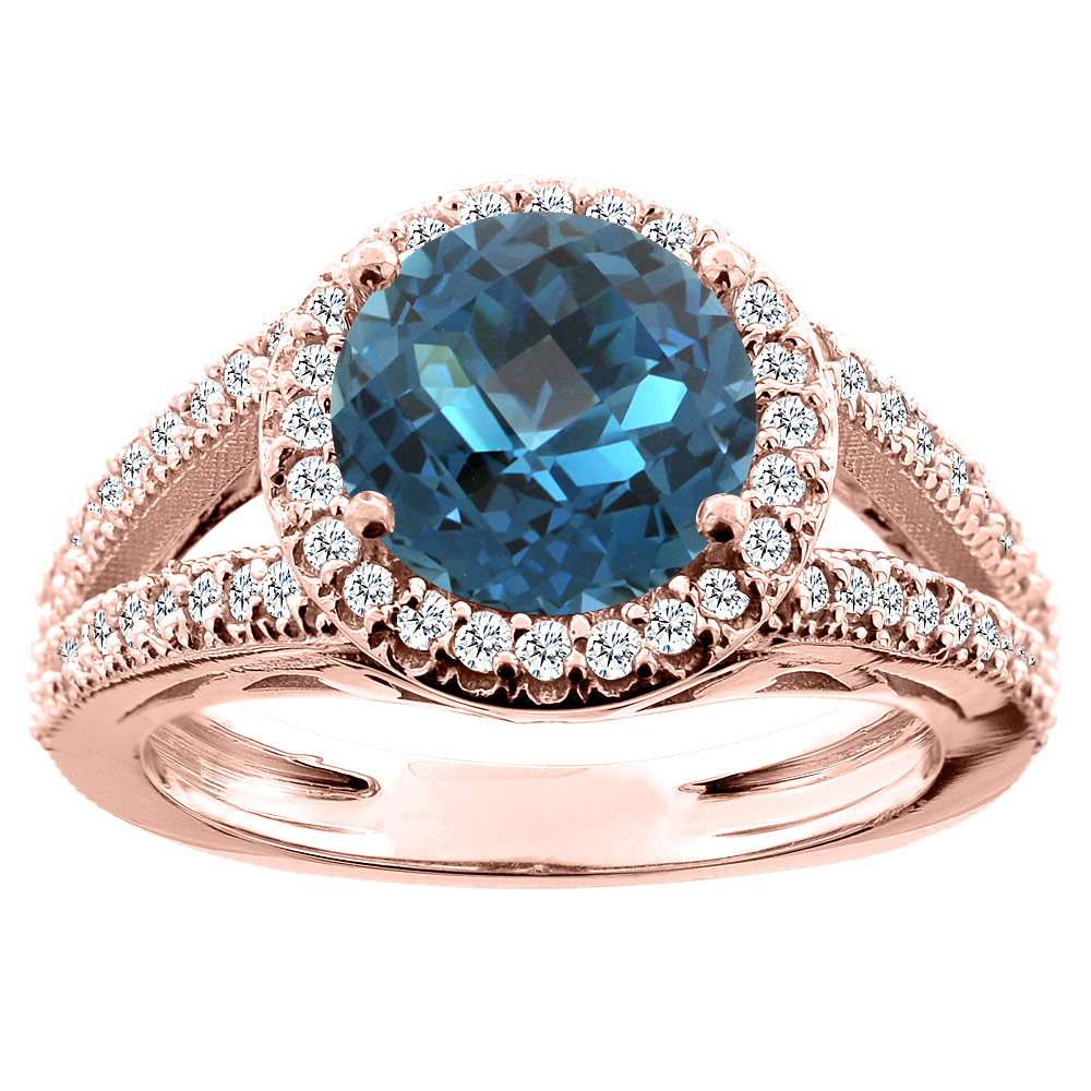 14K White/Yellow/Rose Gold Natural London Blue Topaz Ring Round 8mm Diamond Accent, sizes 5 - 10
