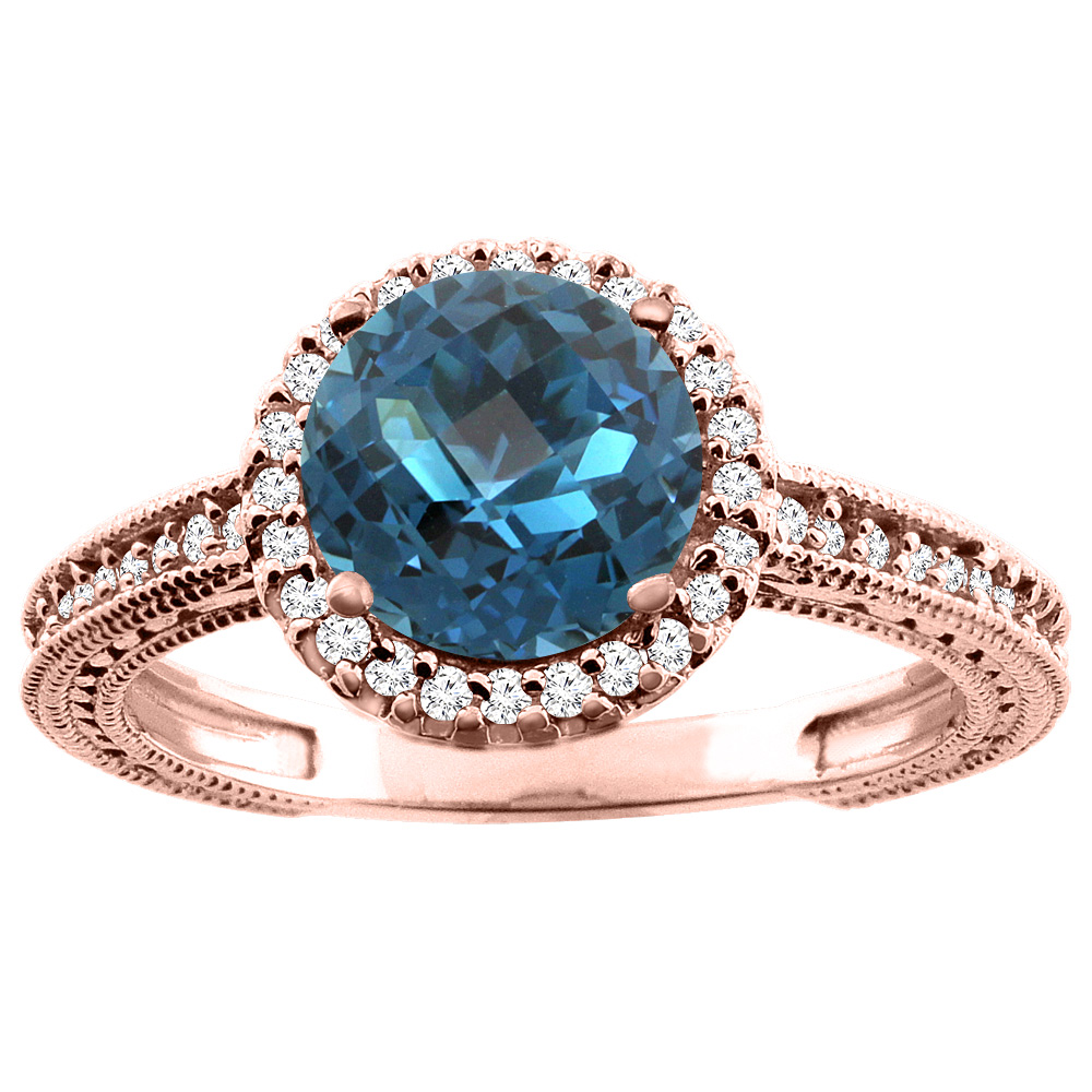 14K White/Yellow/Rose Gold Natural London Blue Topaz Ring Round 7mm Diamond Accent, sizes 5 - 10