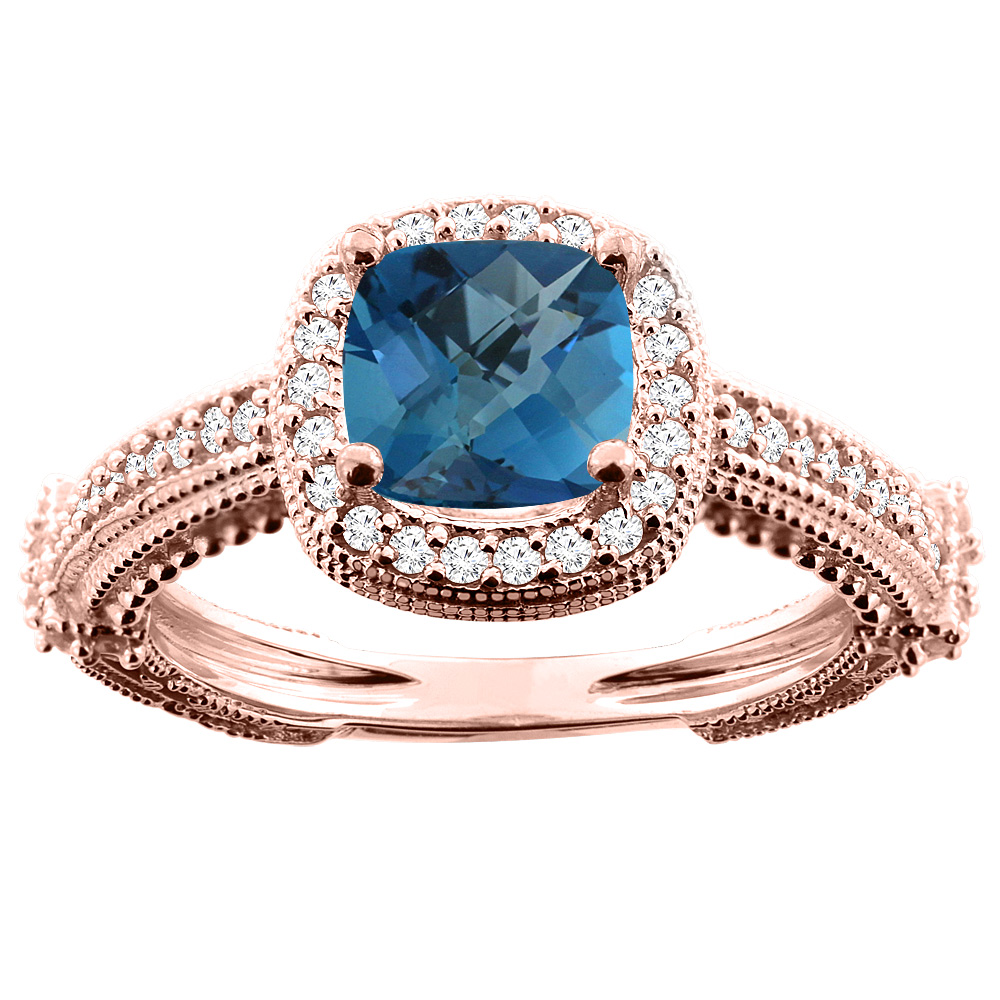 14K White/Yellow/Rose Gold Natural London Blue Topaz Ring Cushion 7x7mm Diamond Accent, sizes 5 - 10
