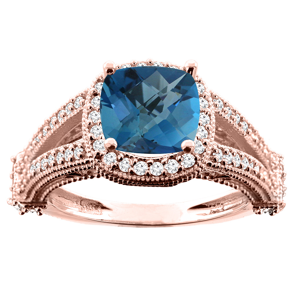 14K White/Yellow/Rose Gold Natural London Blue Topaz Split Shank Ring Cushion 7x7mm Diamond Accent, sizes 5 - 10