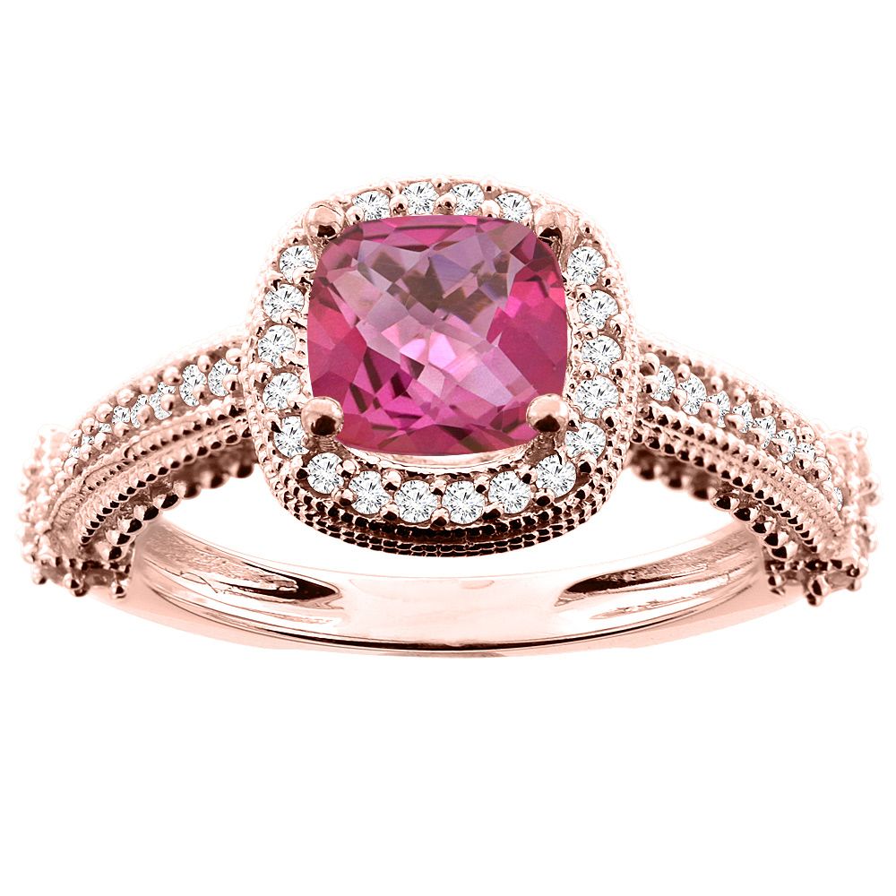 10K White/Yellow/Rose Gold Natural Pink Topaz Ring Cushion 7x7mm Diamond Accent, size 5