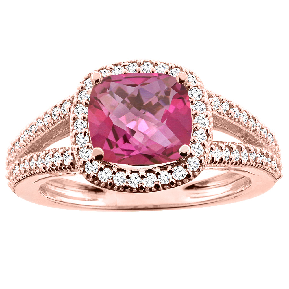 10K Rose Gold Natural Pink Topaz Ring Cushion 7x7mm Diamond Accent 3/8 inch wide, sizes 5 - 10