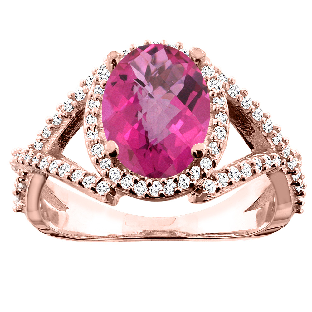 14K White/Yellow/Rose Gold Natural Pink Topaz Ring Oval 10x8mm Diamond Accent, sizes 5 - 10