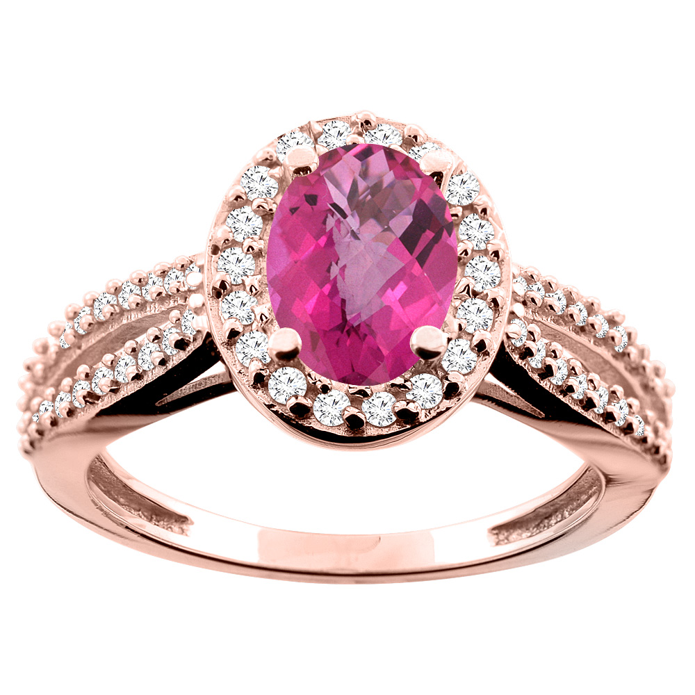 14K White/Yellow/Rose Gold Natural Pink Sapphire Ring Oval 8x6mm Diamond Accent, size 5
