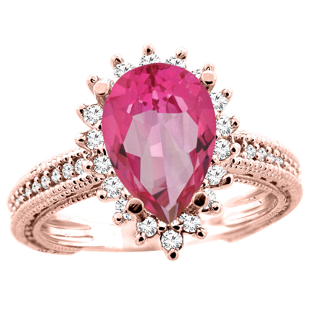 10K White/Yellow/Rose Gold Natural Pink Topaz Ring Pear 12x8mm Diamond Accent, size 5
