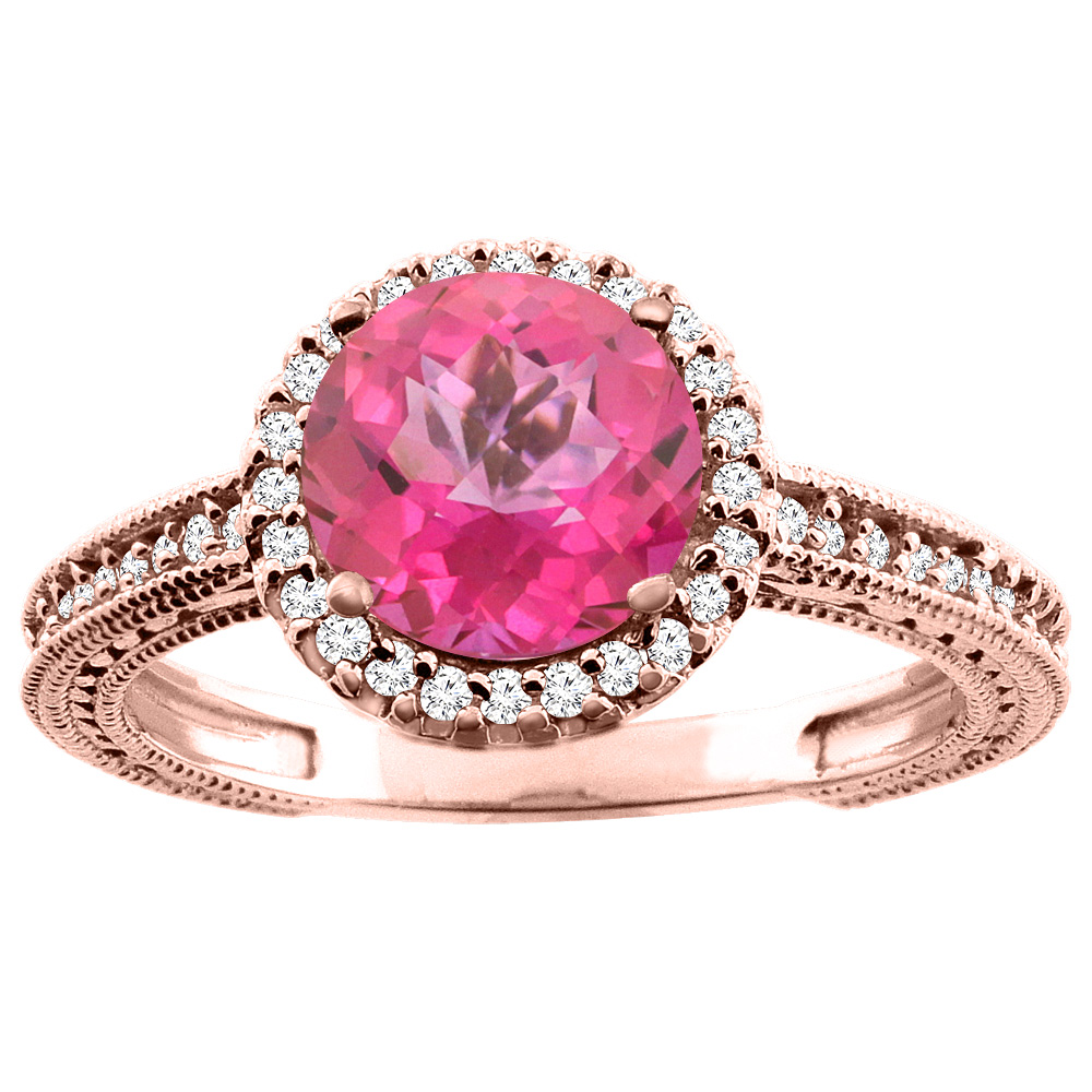10K White/Yellow/Rose Gold Natural Pink Topaz Ring Round 7mm Diamond Accent, sizes 5 - 10