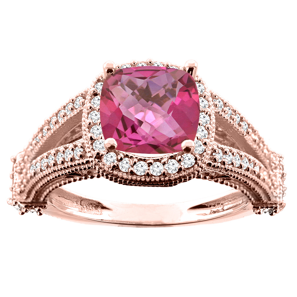 14K White/Yellow/Rose Gold Natural Pink Topaz Split Shank Ring Cushion 7x7mm Diamond Accent, sizes 5 - 10