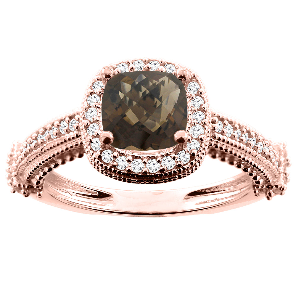 10K White/Yellow/Rose Gold Natural Smoky Topaz Ring Cushion 7x7mm Diamond Accent, size 5