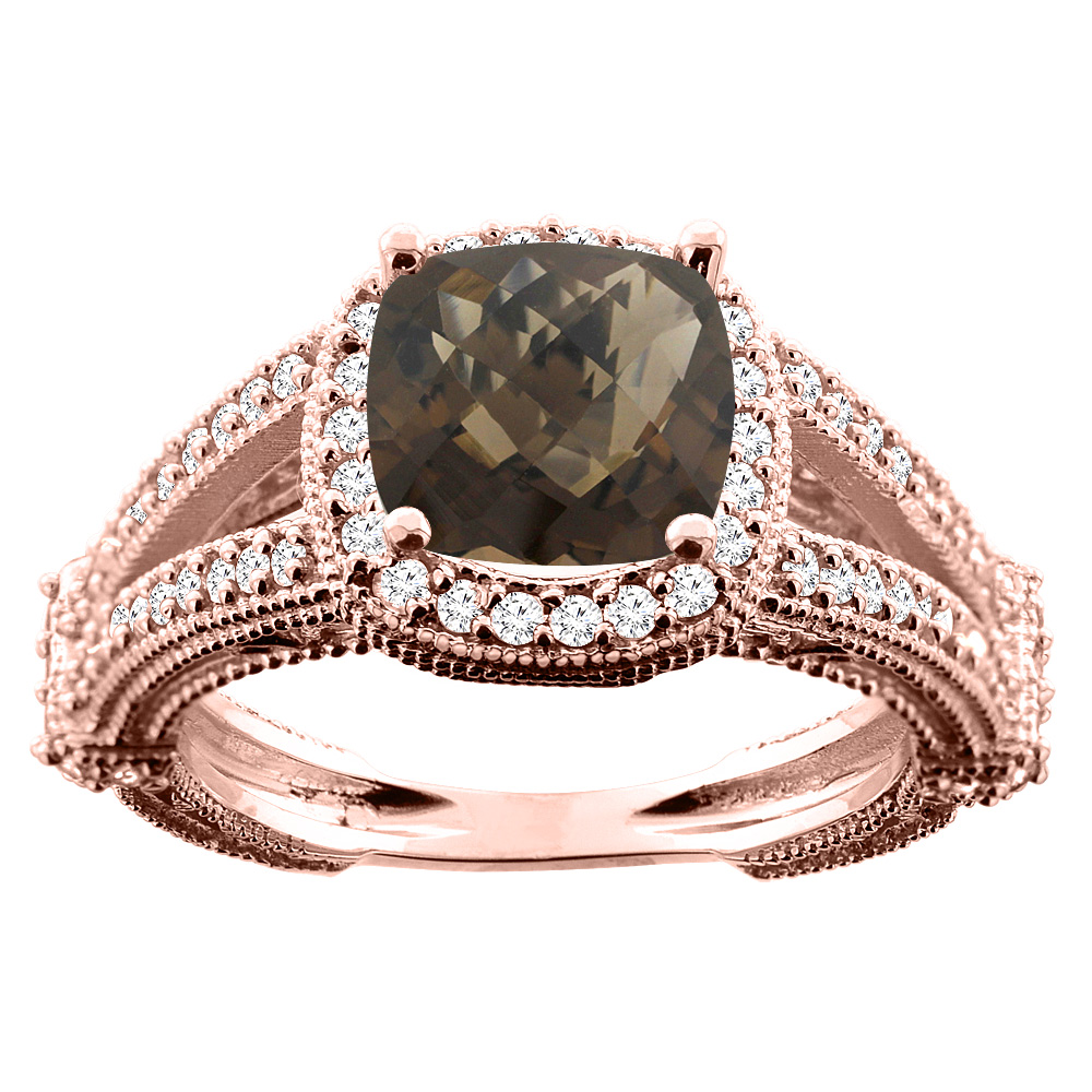 14K White/Yellow/Rose Gold Natural Smoky Topaz Cushion 8x8mm Diamond Accent 3/8 inch wide, size 5