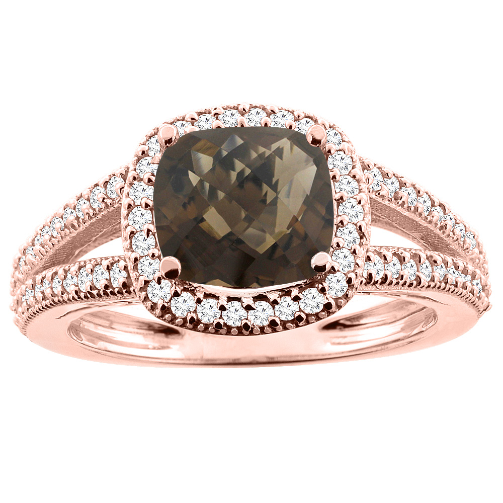 10K Rose Gold Natural Smoky Topaz Ring Cushion 7x7mm Diamond Accent 3/8 inch wide, sizes 5 - 10