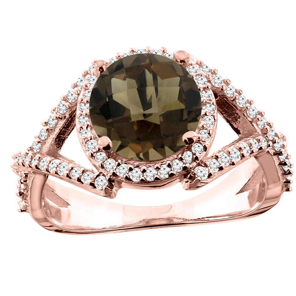 14K White/Yellow/Rose Gold Natural Smoky Topaz Ring Round 8mm Diamond Accent, size 5