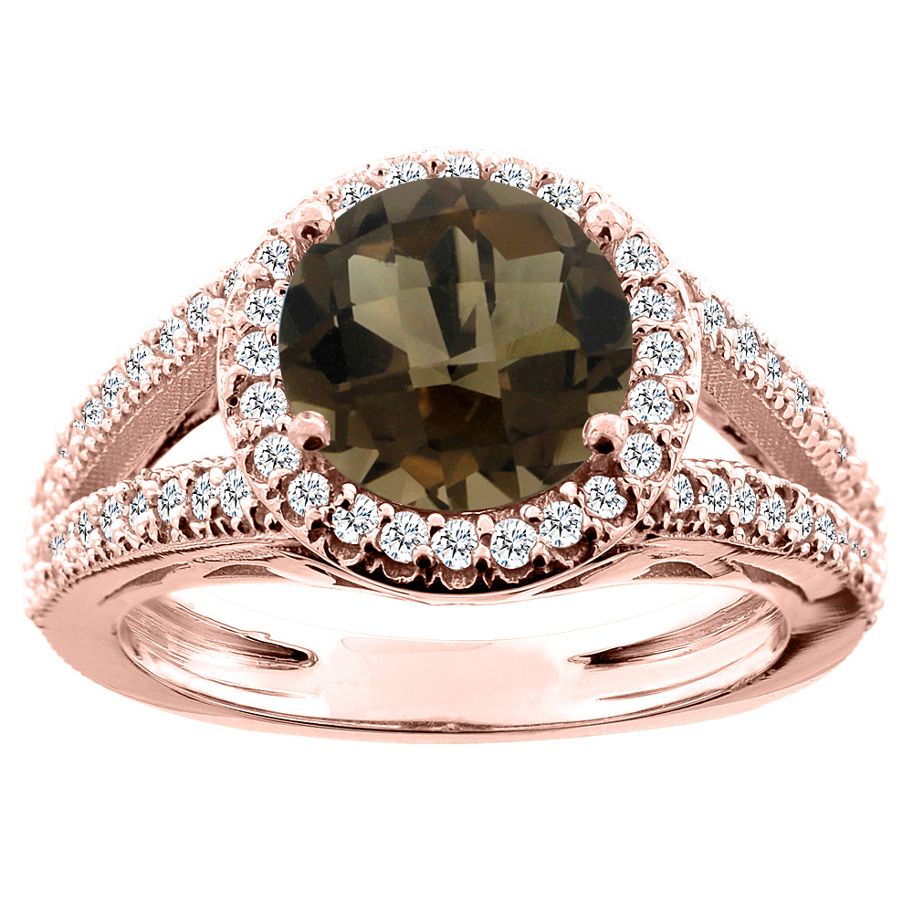 14K White/Yellow/Rose Gold Natural Smoky Topaz Ring Round 8mm Diamond Accent, sizes 5 - 10