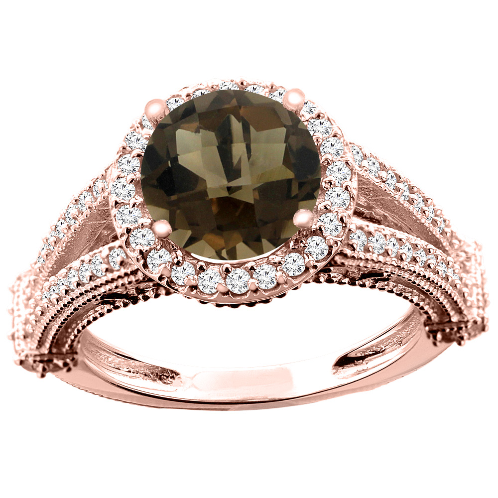 10K White/Yellow/Rose Gold Natural Smoky Topaz Ring Round 8mm Diamond Accent, sizes 5 - 10