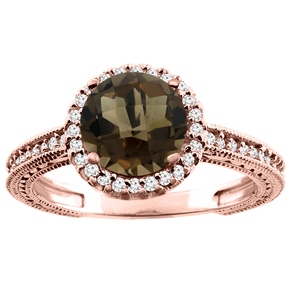 10K White/Yellow/Rose Gold Natural Smoky Topaz Ring Round 7mm Diamond Accent, sizes 5 - 10