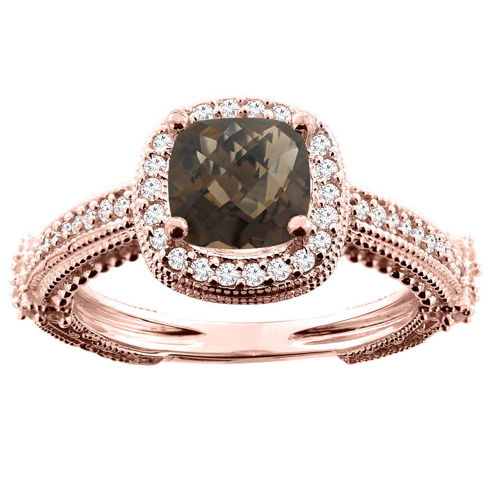 14K White/Yellow/Rose Gold Natural Smoky Topaz Ring Cushion 7x7mm Diamond Accent, sizes 5 - 10