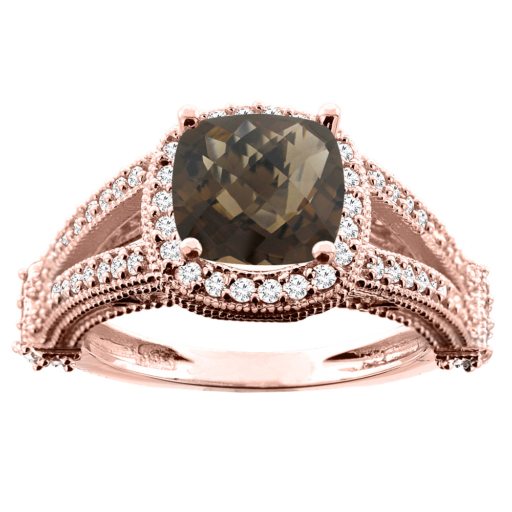 10K White/Yellow/Rose Gold Natural Smoky Topaz Split Shank Ring Cushion 7x7mm Diamond Accent, sizes 5 - 10