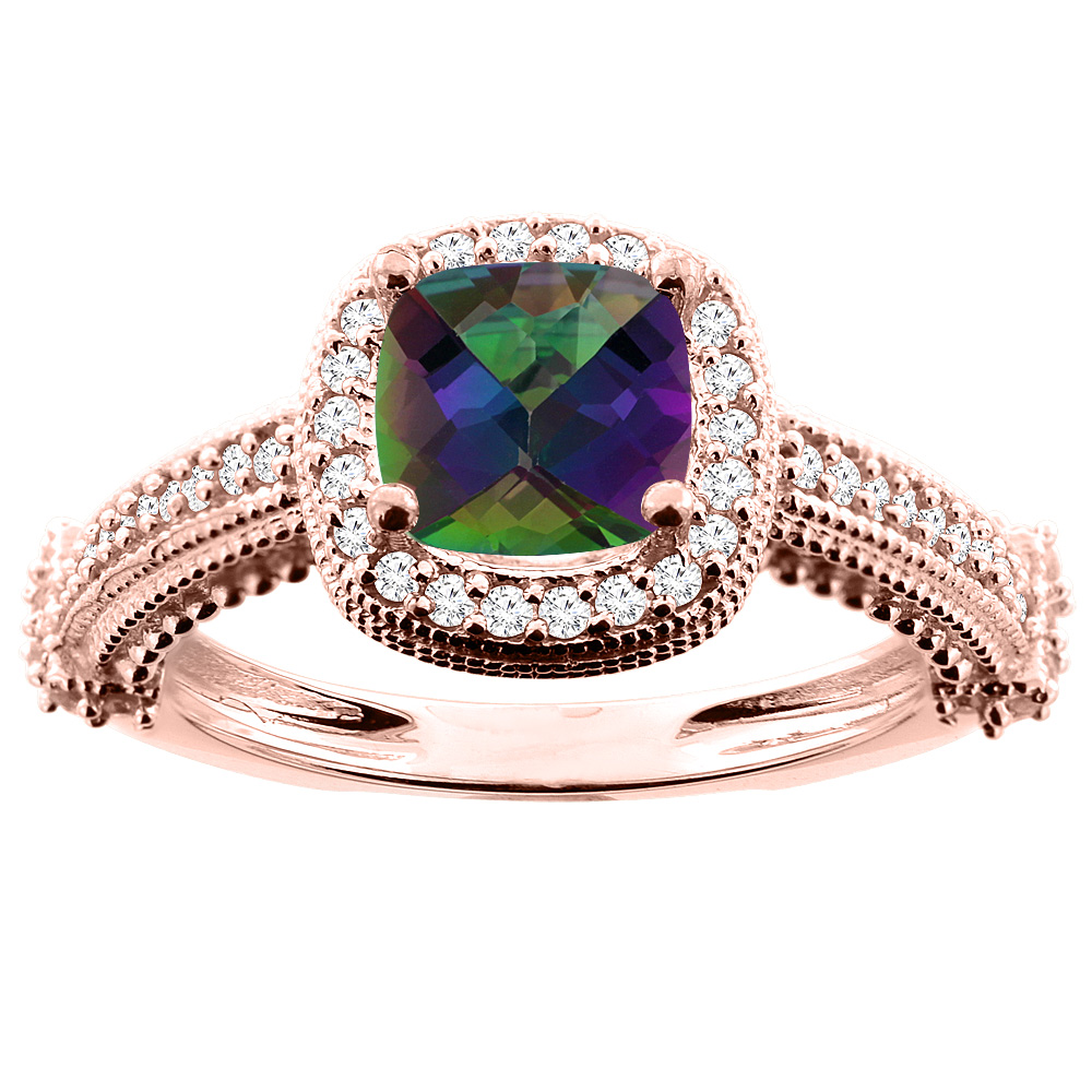 10K White/Yellow/Rose Gold Natural Mystic Topaz Ring Cushion 7x7mm Diamond Accent, size 5