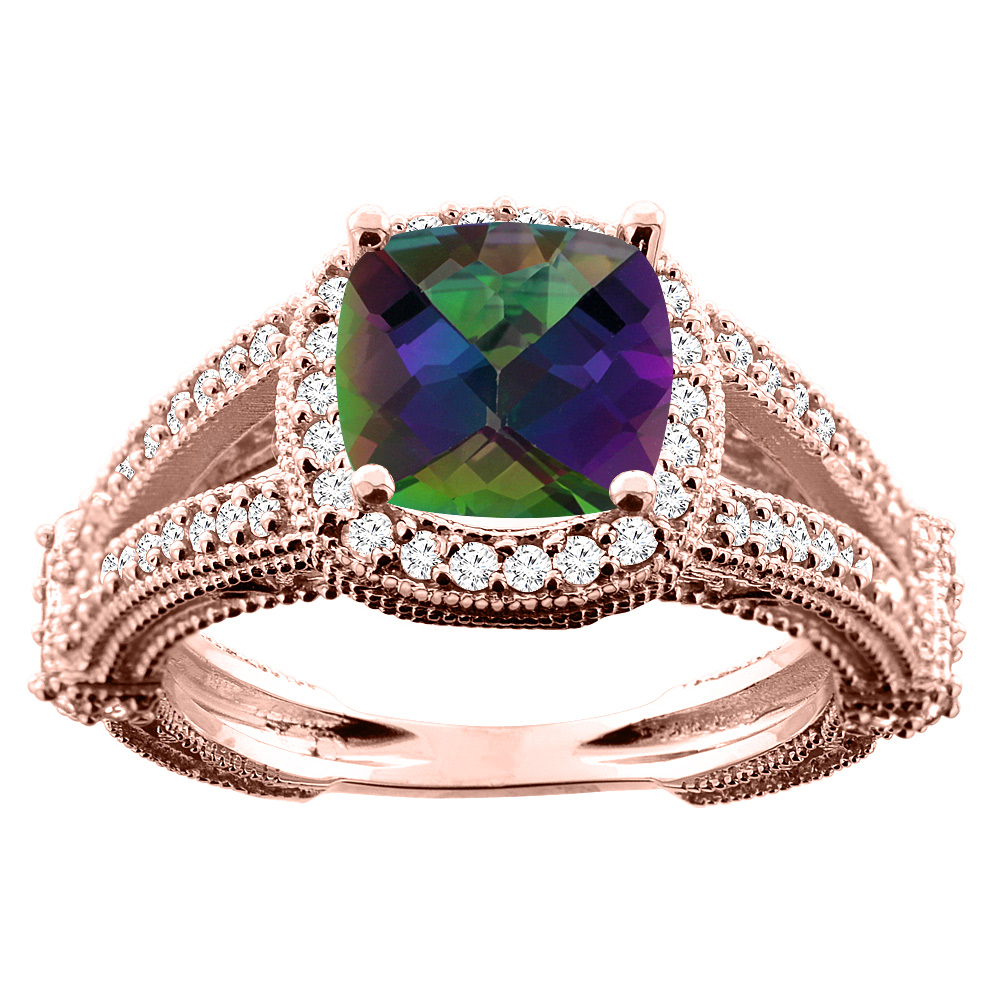 10K White/Yellow/Rose Gold Natural Mystic Topaz Cushion 8x8mm Diamond Accent 3/8 inch wide, size 5