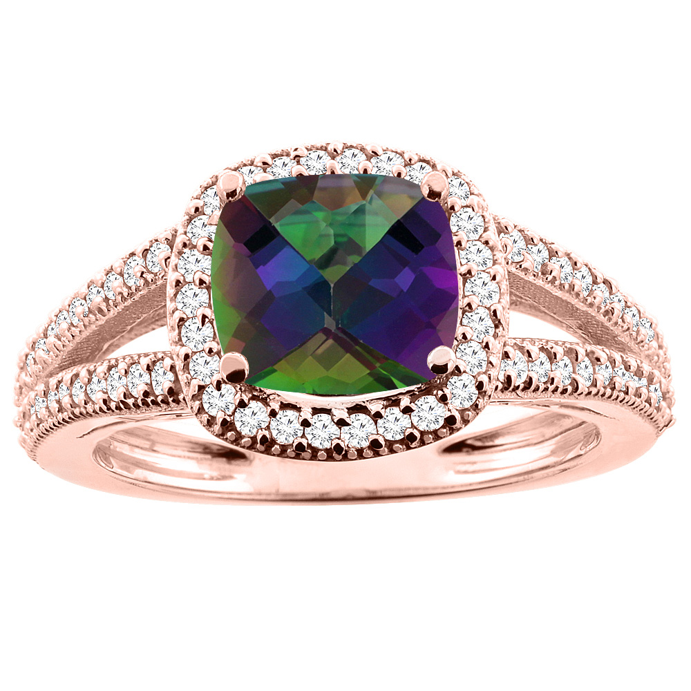 10K Rose Gold Natural Mystic Topaz Ring Cushion 7x7mm Diamond Accent 3/8 inch wide, sizes 5 - 10