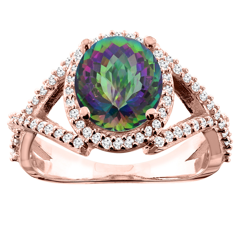 10K White/Yellow/Rose Gold Natural Mystic Topaz Ring Oval 9x7mm Diamond Accent, size 5
