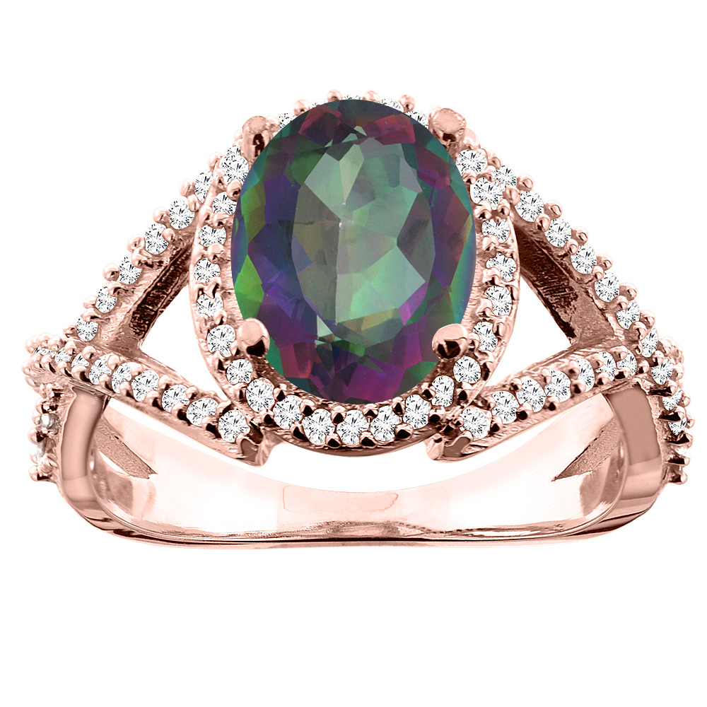 10K White/Yellow/Rose Gold Natural Mystic Topaz Ring Oval 10x8mm Diamond Accent, sizes 5 - 10