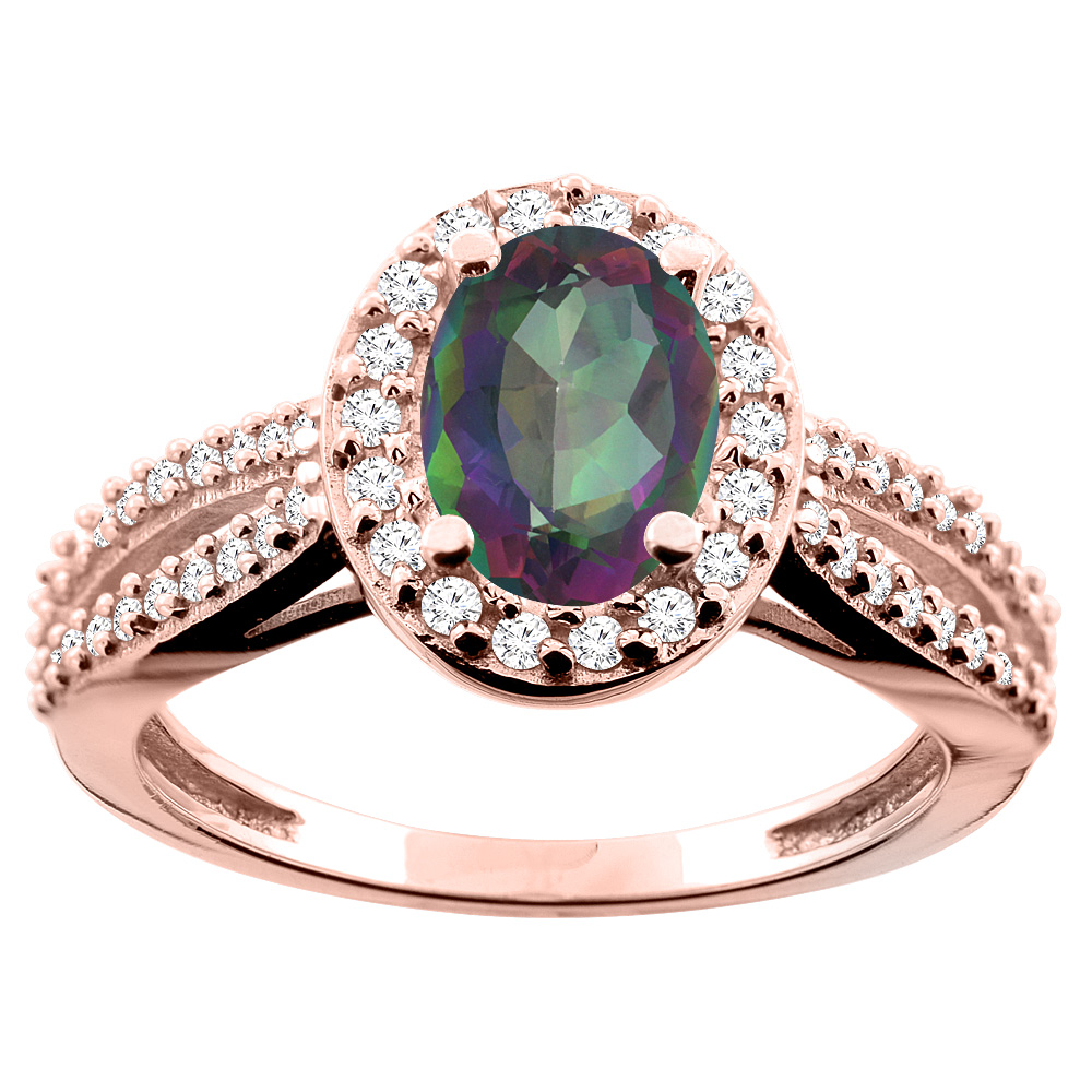 10K White/Yellow/Rose Gold Natural Mystic Topaz Ring Oval 8x6mm Diamond Accent, size 5