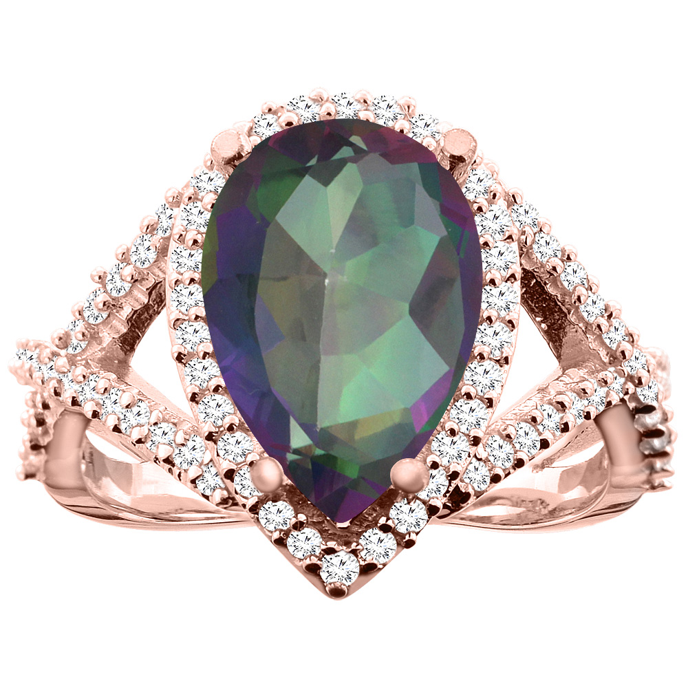 14K White/Yellow/Rose Gold Natural Mystic Topaz Ring Pear 12X8mm Diamond Accent, size 5