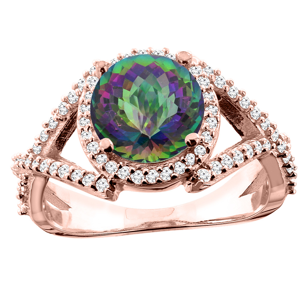 14K White/Yellow/Rose Gold Natural Mystic Topaz Ring Round 8mm Diamond Accent, size 5