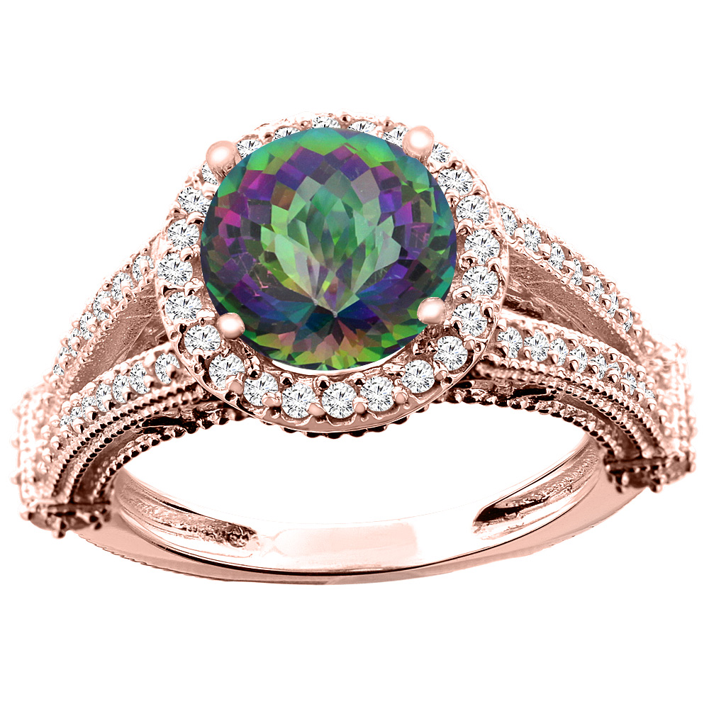 10K White/Yellow/Rose Gold Natural Mystic Topaz Ring Round 8mm Diamond Accent, sizes 5 - 10