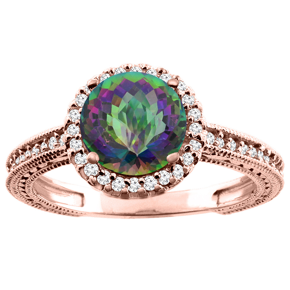 10K White/Yellow/Rose Gold Natural Mystic Topaz Ring Round 7mm Diamond Accent, sizes 5 - 10
