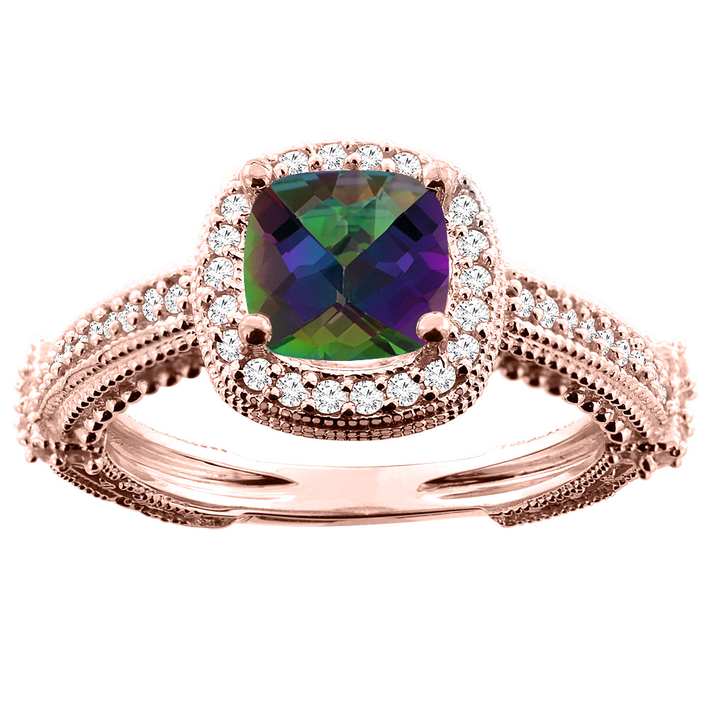 14K White/Yellow/Rose Gold Natural Mystic Topaz Ring Cushion 7x7mm Diamond Accent, sizes 5 - 10