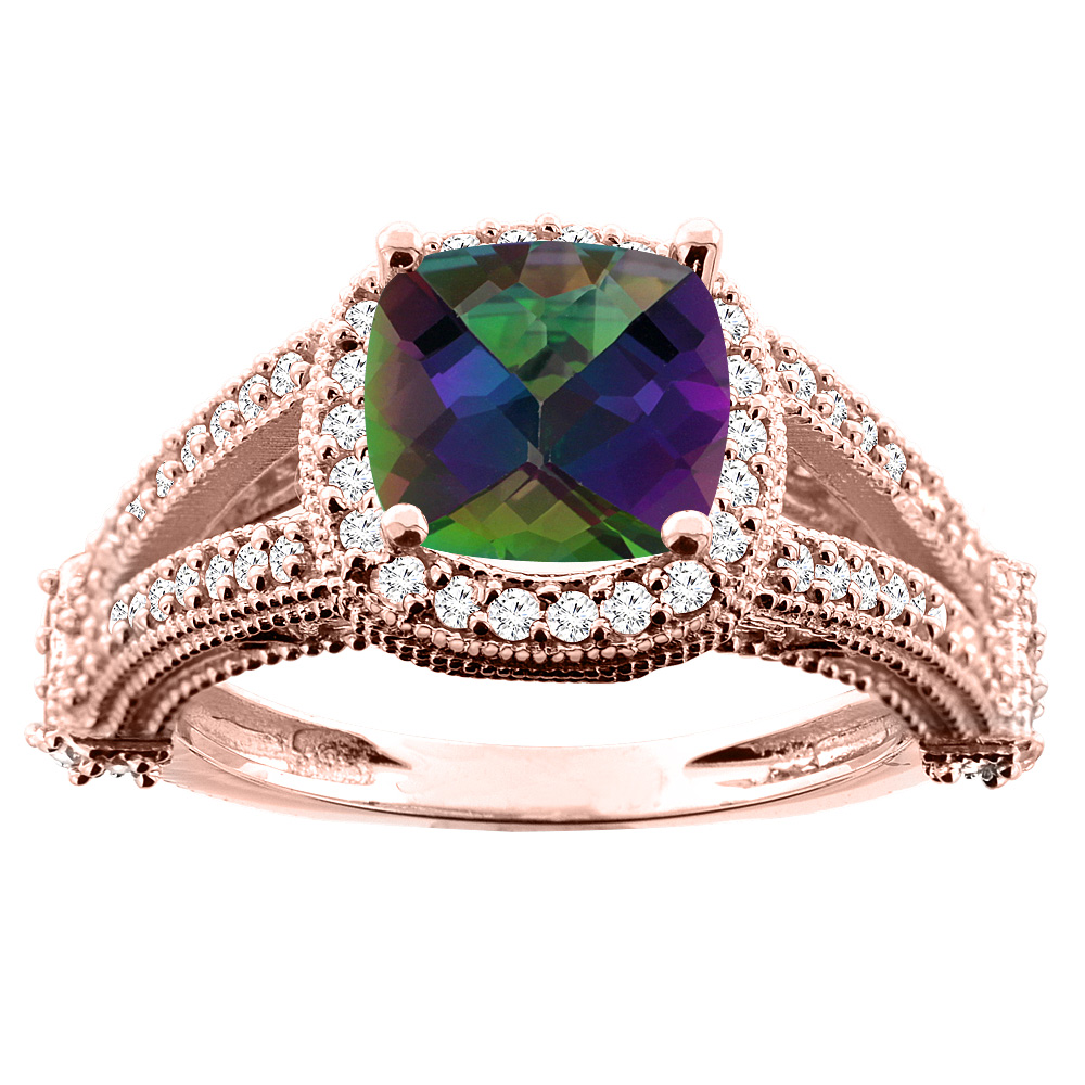 10K White/Yellow/Rose Gold Natural Mystic Topaz Split Shank Ring Cushion 7x7mm Diamond Accent, sizes 5 - 10