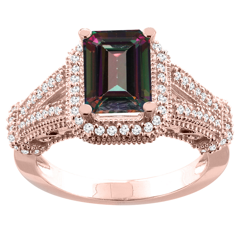 14K White/Yellow/Rose Gold Natural Mystic Topaz Ring Octagon 8x6mm Diamond Accent, sizes 5-10