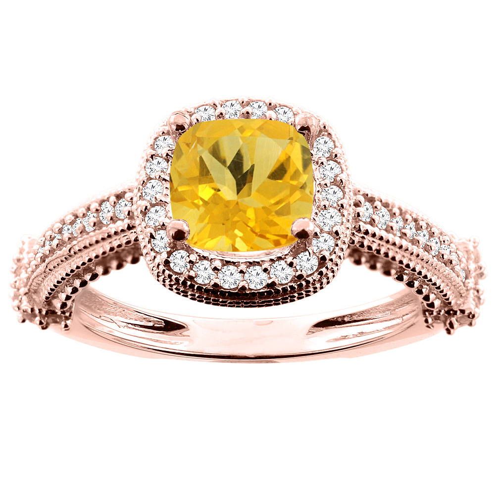 10K White/Yellow/Rose Gold Natural Citrine Ring Cushion 7x7mm Diamond Accent, size 5