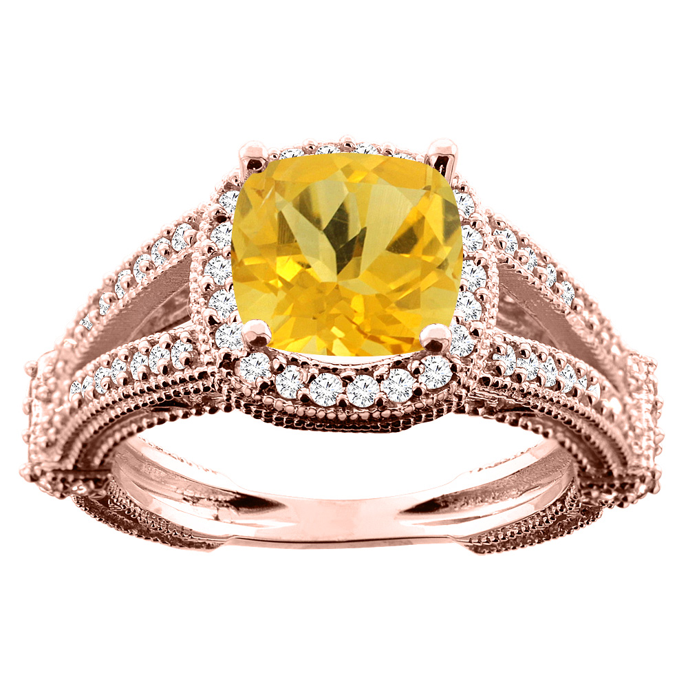 10K White/Yellow/Rose Gold Natural Citrine Cushion 8x8mm Diamond Accent 3/8 inch wide, size 5