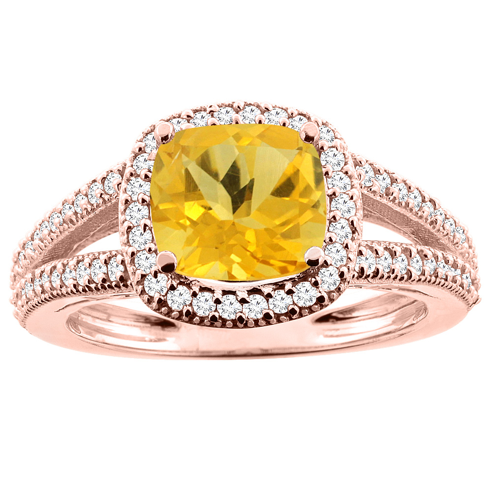 10K Rose Gold Natural Citrine Ring Cushion 7x7mm Diamond Accent 3/8 inch wide, sizes 5 - 10