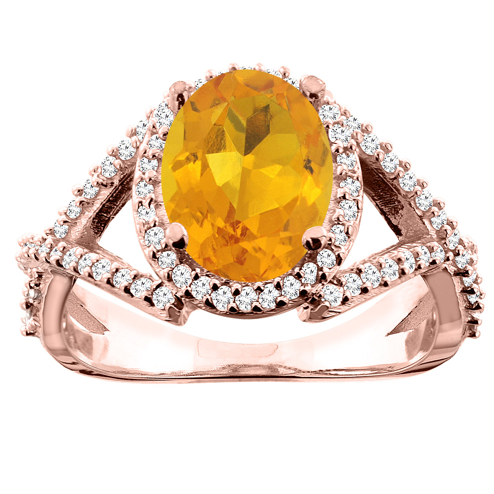 10K White/Yellow/Rose Gold Natural Citrine Ring Oval 10x8mm Diamond Accent, sizes 5 - 10