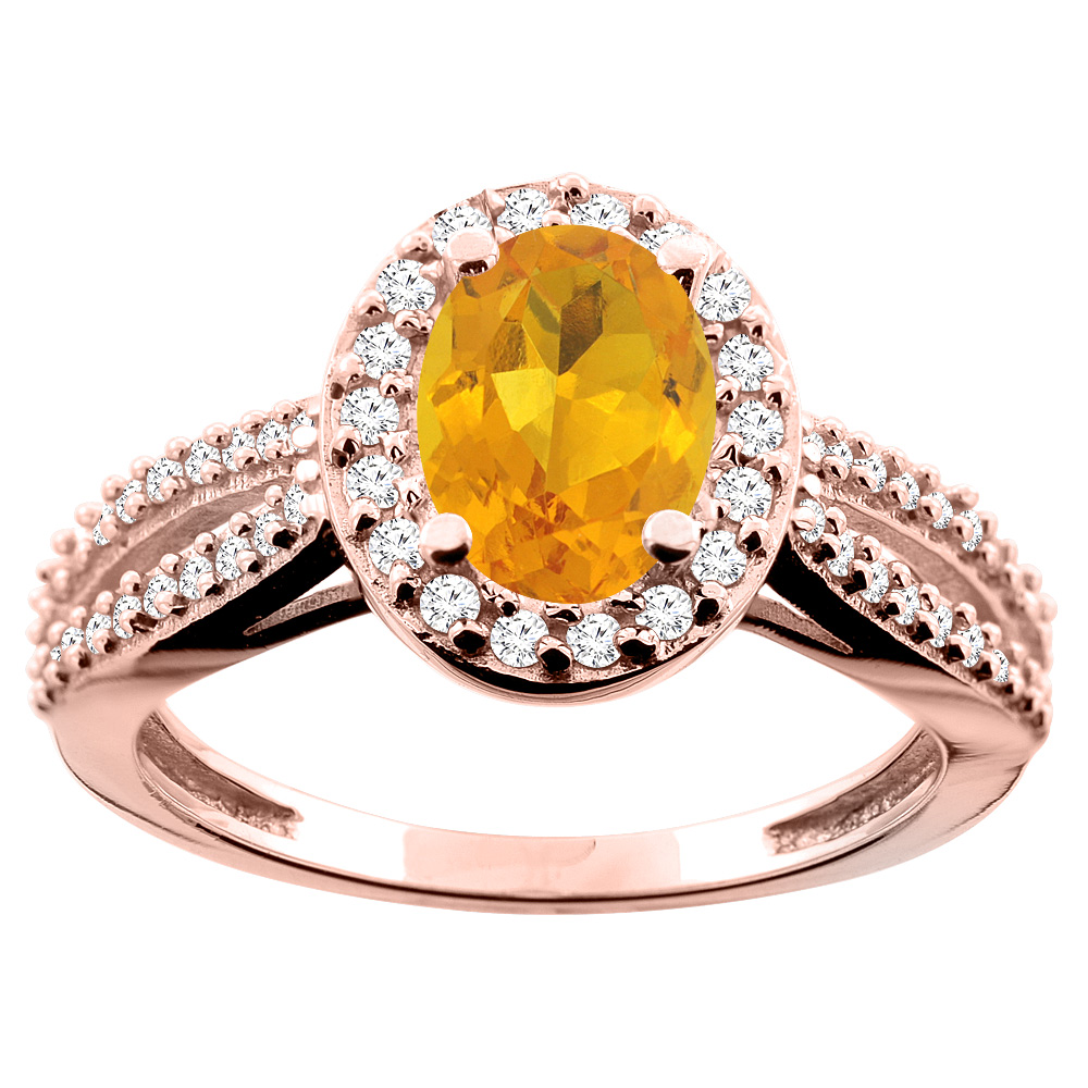 10K White/Yellow/Rose Gold Natural Citrine Ring Oval 8x6mm Diamond Accent, size 5