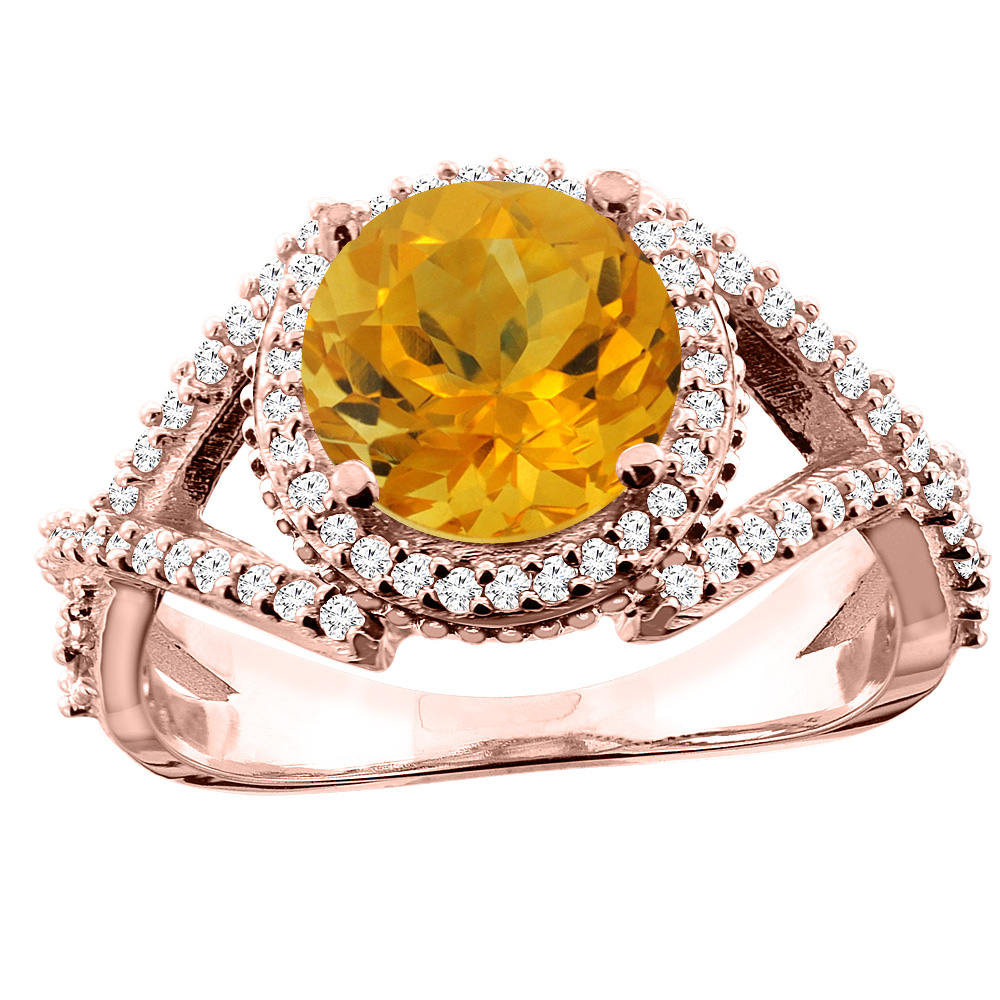 10K White/Yellow/Rose Gold Natural Citrine Ring Round 8mm Diamond Accent, sizes 5 - 10