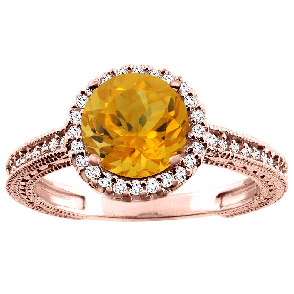 10K White/Yellow/Rose Gold Natural Citrine Ring Round 7mm Diamond Accent, sizes 5 - 10
