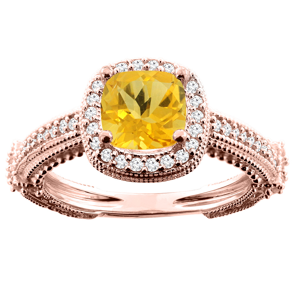 10K White/Yellow/Rose Gold Natural Citrine Ring Cushion 7x7mm Diamond Accent, sizes 5 - 10