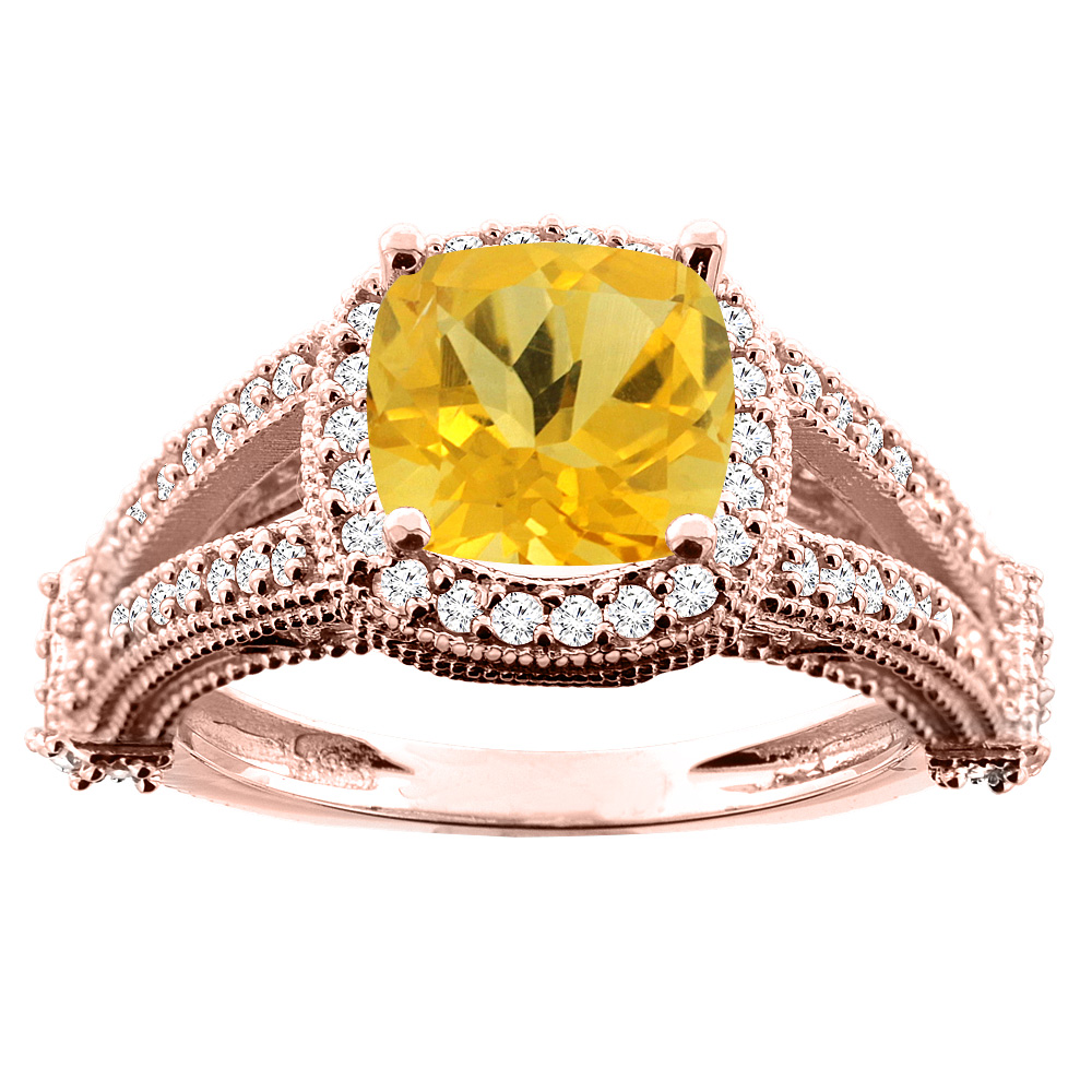 10K White/Yellow/Rose Gold Natural Citrine Split Shank Ring Cushion 7x7mm Diamond Accent, sizes 5 - 10