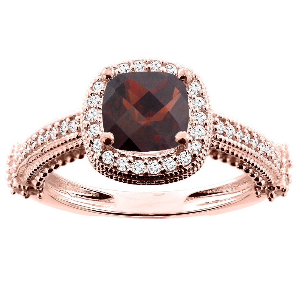 14K White/Yellow/Rose Gold Natural Garnet Ring Cushion 7x7mm Diamond Accent 7/16 inch wide, size 5
