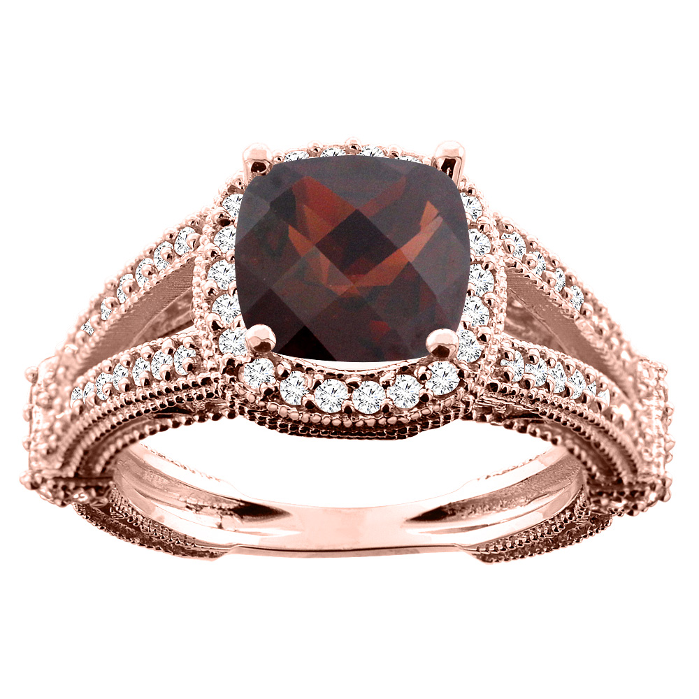 14K White/Yellow/Rose Gold Natural Garnet Cushion 8x8mm Diamond Accent 3/8 inch wide, size 5