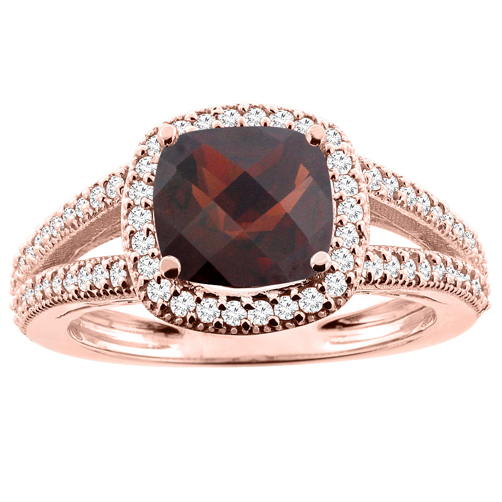 14K Rose Gold Natural Garnet Ring Cushion 7x7mm Diamond Accent 3/8 inch wide, sizes 5 - 10